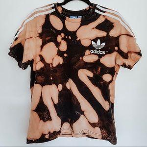 Adidas Bleached White Stripe Black Tie Dye T-Shirt